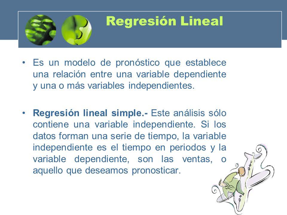 Regresión LinealEs un modelo de pronóstico que establece una relación entre una variable dependiente y una o más variables independientes.