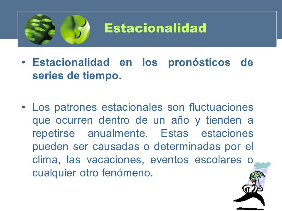 Estacionalidad Estacionalidad en los pronósticos de series de tiempo.