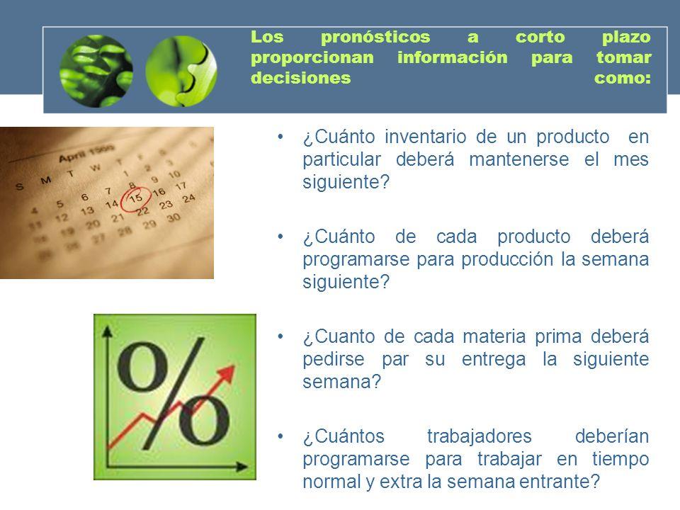 Los pronósticos a corto plazo proporcionan información para tomar decisiones como: