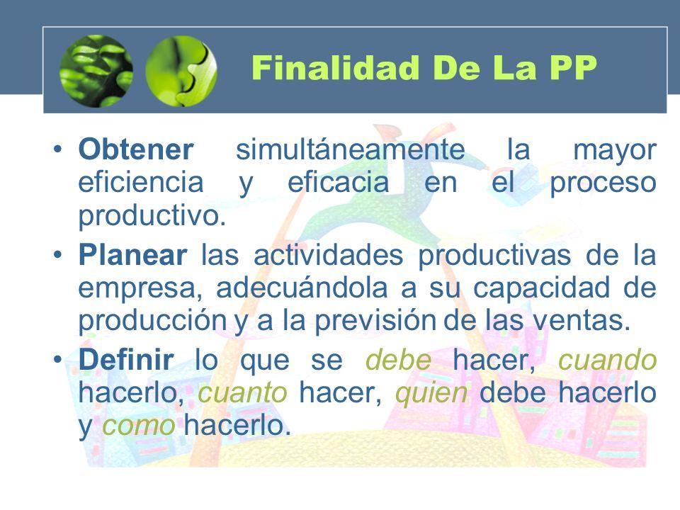 Finalidad De La PP Obtener simultáneamente la mayor eficiencia y eficacia en el proceso productivo.