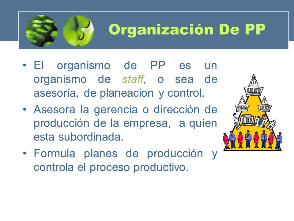 Organización De PP El organismo de PP es un organismo de staff, o sea de asesoría, de planeacion y control.