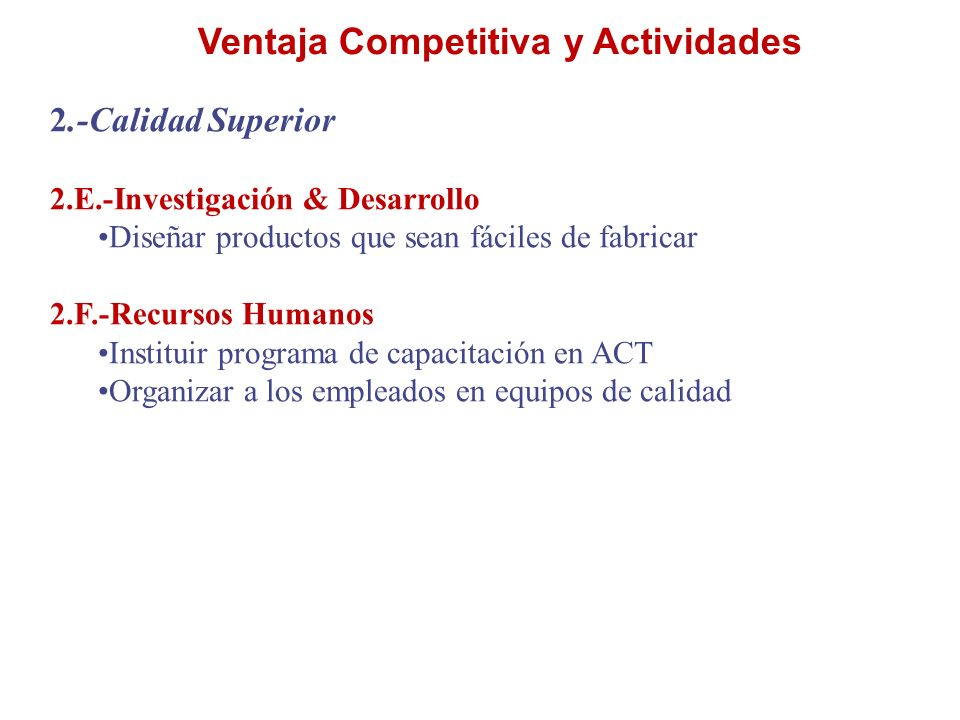 Ventaja Competitiva y Actividades