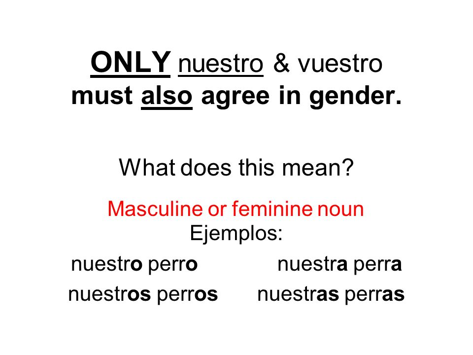 ONLY nuestro & vuestro must also agree in gender.