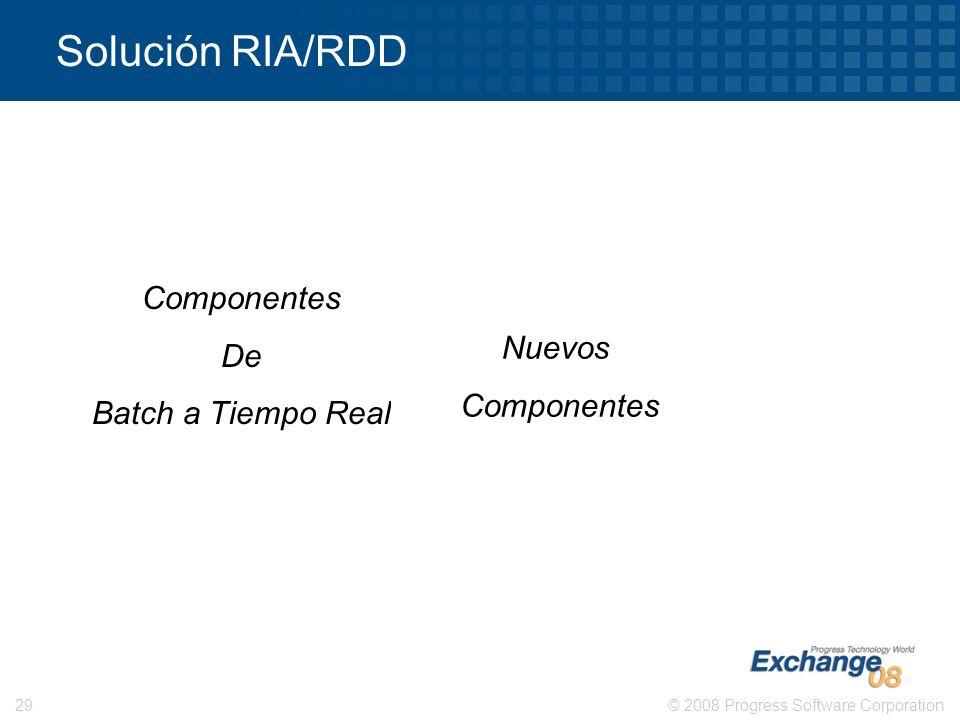 Solución RIA/RDD Componentes De Batch a Tiempo Real Nuevos Componentes