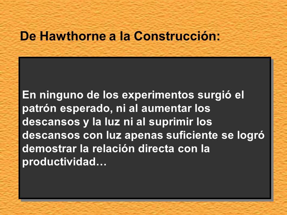 De Hawthorne a la Construcción: