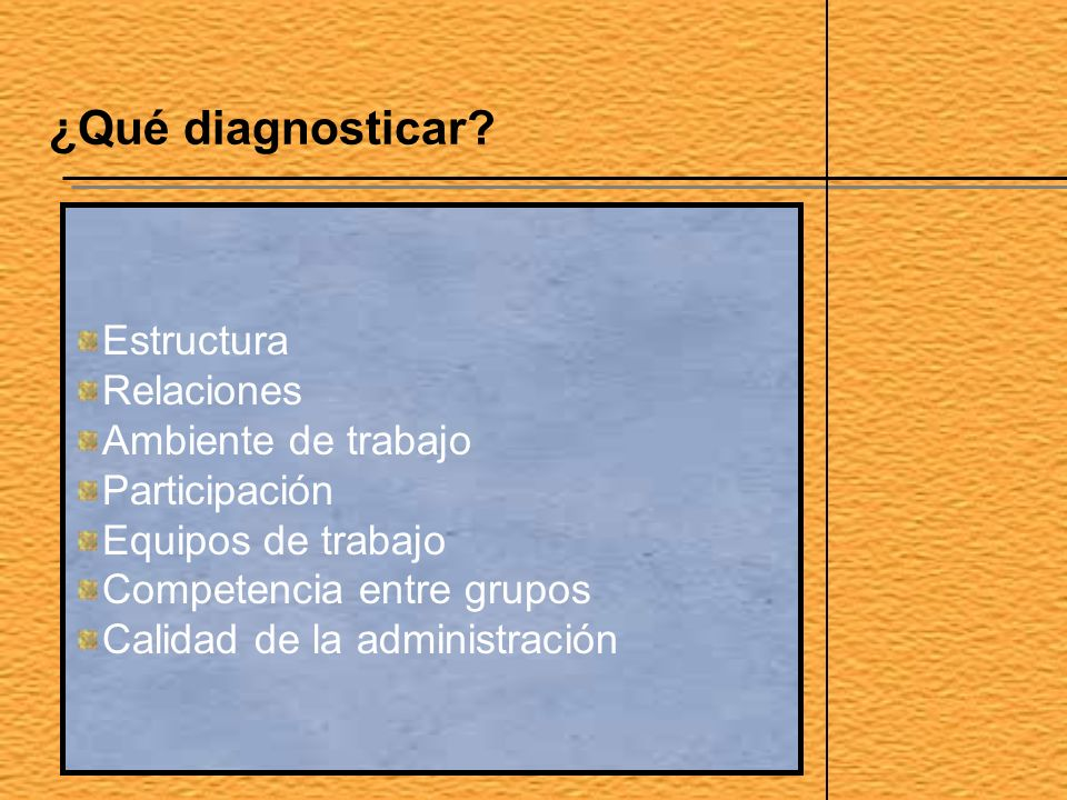 ¿Qué diagnosticar Estructura Relaciones Ambiente de trabajo