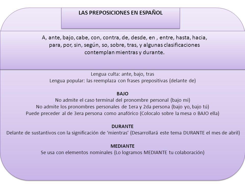 LAS PREPOSICIONES EN ESPAÑOL