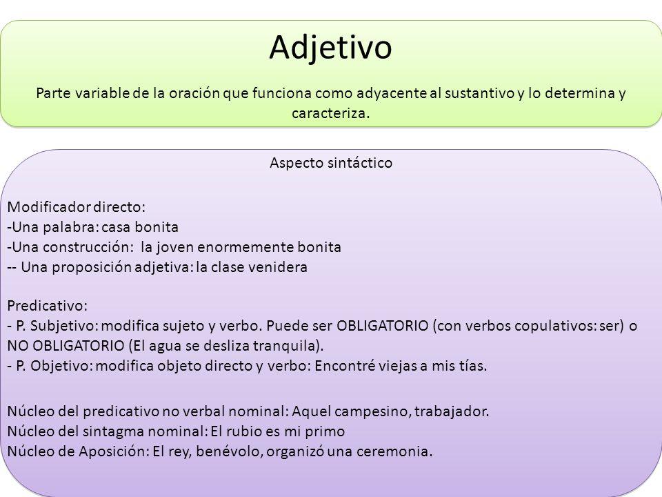 Adjetivo Parte variable de la oración que funciona como adyacente al sustantivo y lo determina y caracteriza.