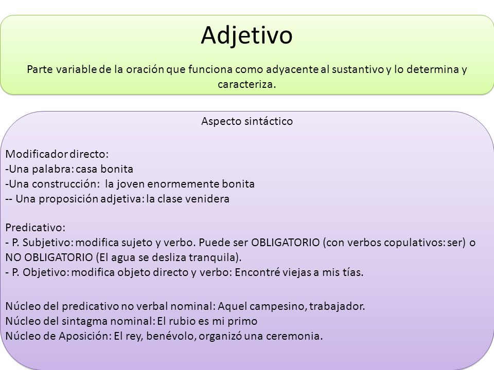 AdjetivoParte variable de la oración que funciona como adyacente al sustantivo y lo determina y caracteriza.