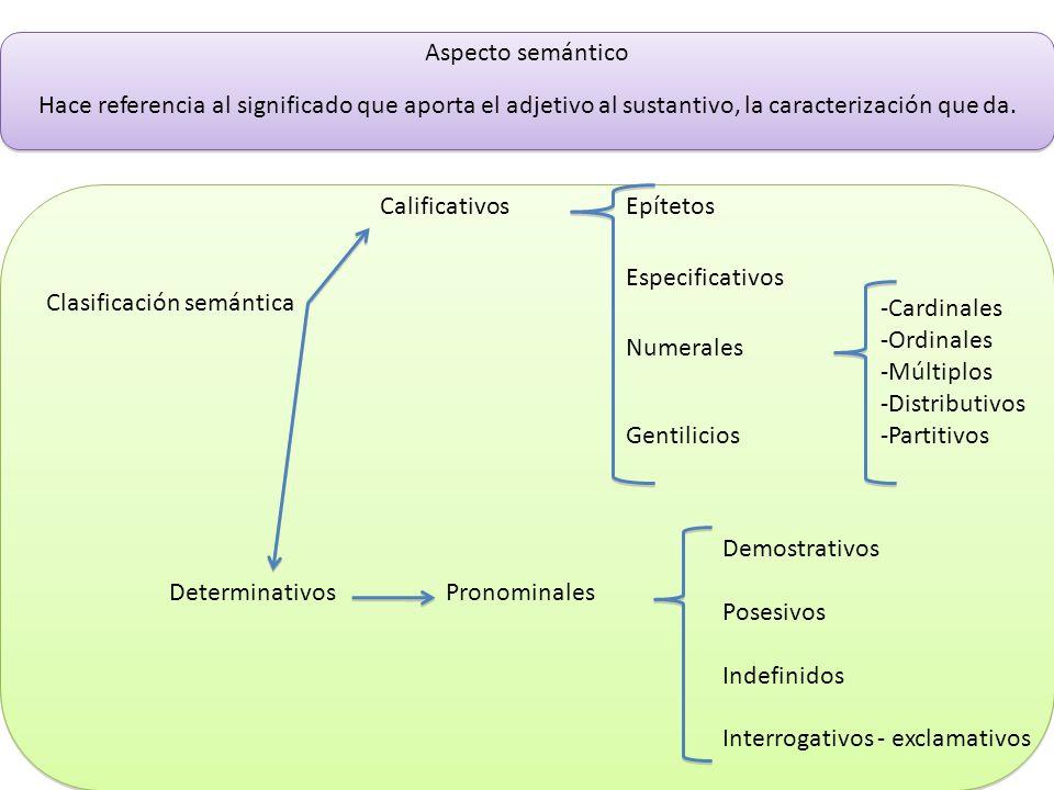 Aspecto semánticoHace referencia al significado que aporta el adjetivo al sustantivo, la caracterización que da.