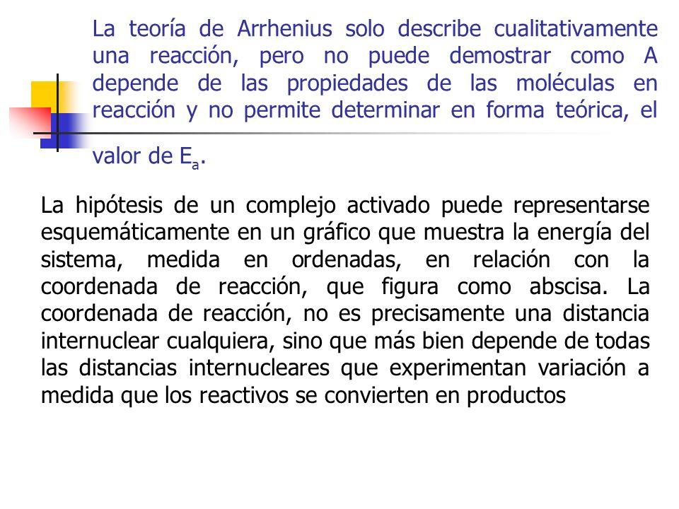 La teoría de Arrhenius solo describe cualitativamente una reacción, pero no puede demostrar como A depende de las propiedades de las moléculas en reacción y no permite determinar en forma teórica, el valor de Ea.