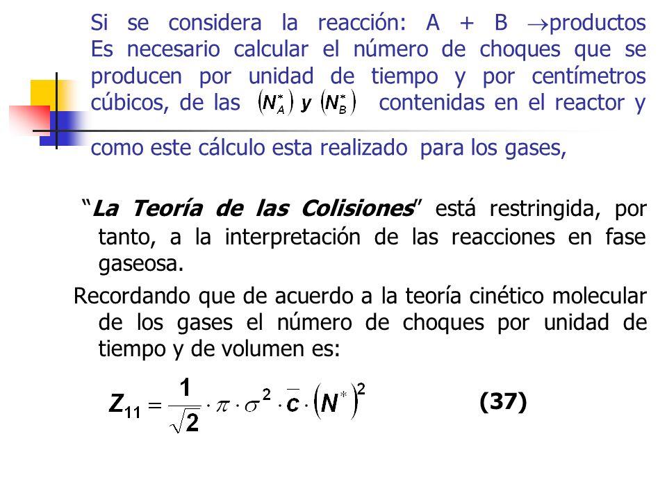 Si se considera la reacción: A + B productos Es necesario calcular el número de choques que se producen por unidad de tiempo y por centímetros cúbicos, de las contenidas en el reactor y como este cálculo esta realizado para los gases,