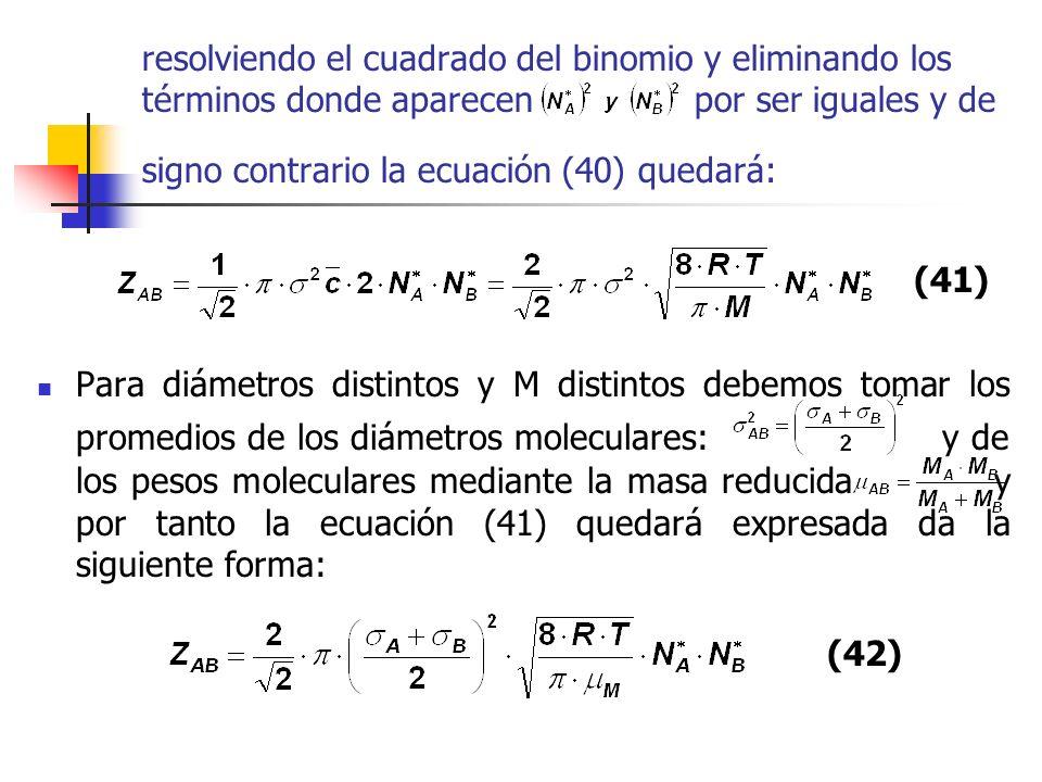 resolviendo el cuadrado del binomio y eliminando los términos donde aparecen por ser iguales y de signo contrario la ecuación (40) quedará: