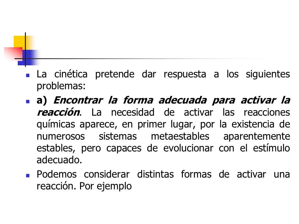 La cinética pretende dar respuesta a los siguientes problemas:
