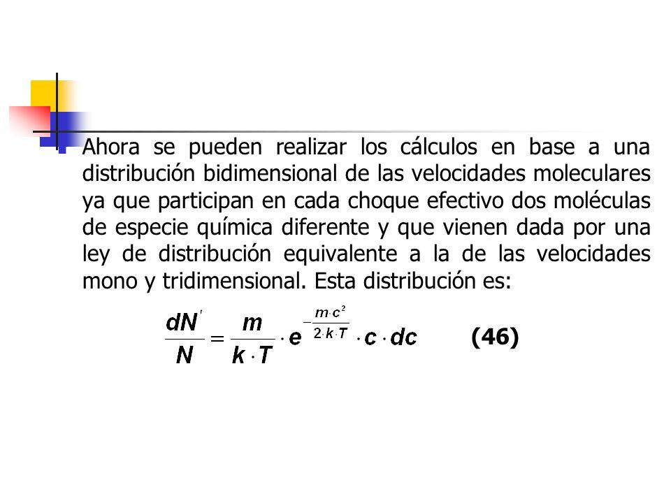 Ahora se pueden realizar los cálculos en base a una distribución bidimensional de las velocidades moleculares ya que participan en cada choque efectivo dos moléculas de especie química diferente y que vienen dada por una ley de distribución equivalente a la de las velocidades mono y tridimensional. Esta distribución es: