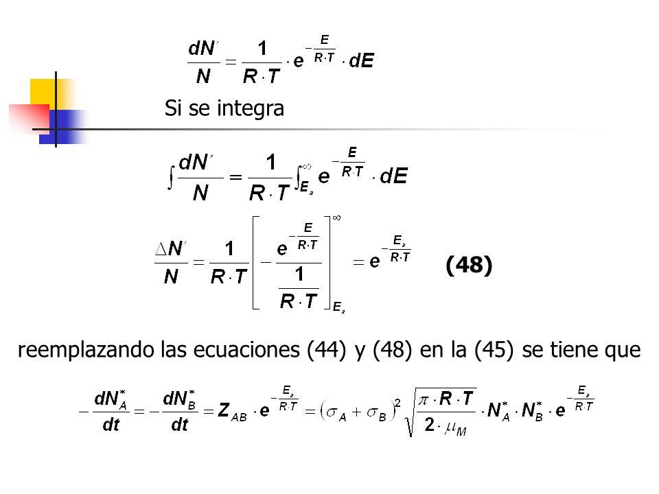 Si se integra (48) reemplazando las ecuaciones (44) y (48) en la (45) se tiene que