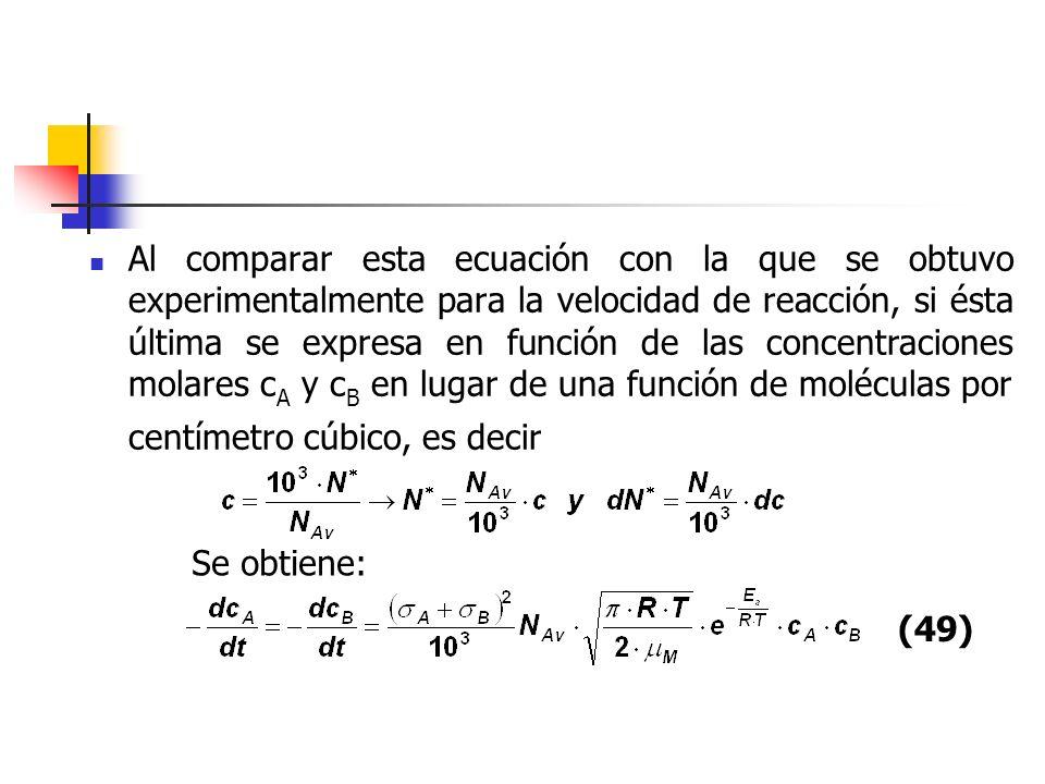 Al comparar esta ecuación con la que se obtuvo experimentalmente para la velocidad de reacción, si ésta última se expresa en función de las concentraciones molares cA y cB en lugar de una función de moléculas por centímetro cúbico, es decir