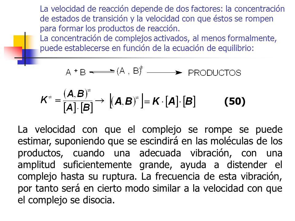 La velocidad de reacción depende de dos factores: la concentración de estados de transición y la velocidad con que éstos se rompen para formar los productos de reacción. La concentración de complejos activados, al menos formalmente, puede establecerse en función de la ecuación de equilibrio: