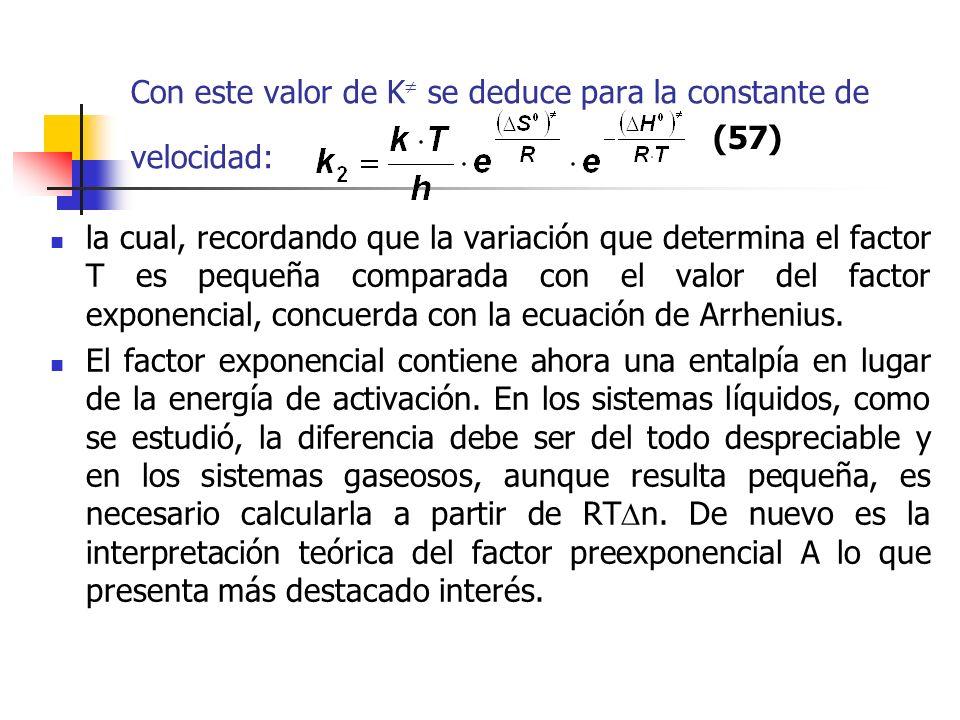 Con este valor de K se deduce para la constante de velocidad: