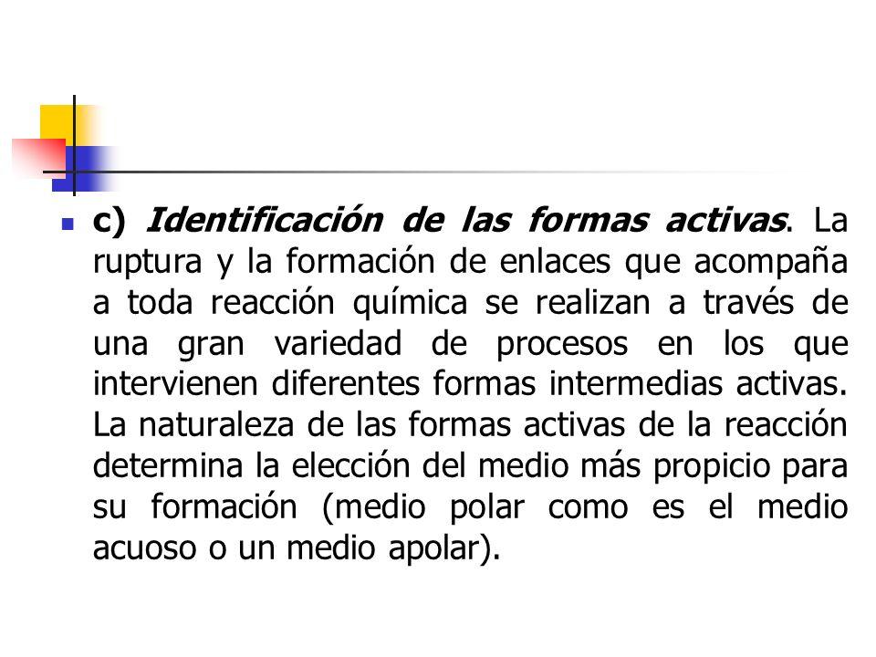 c) Identificación de las formas activas
