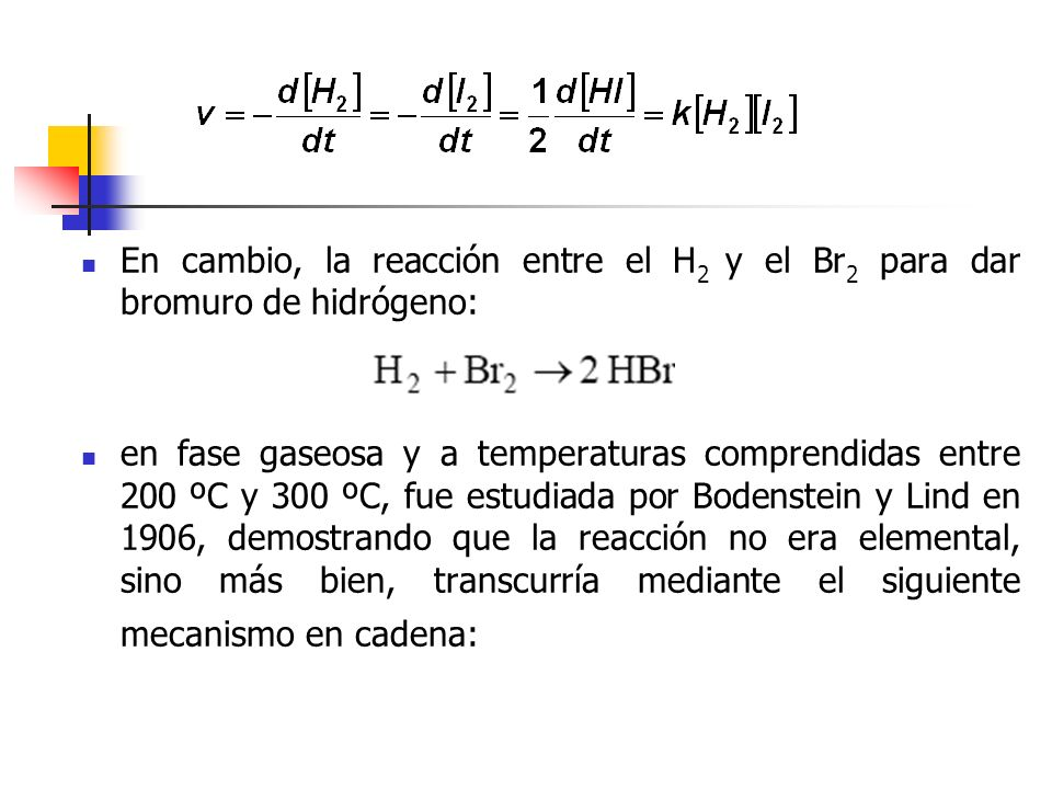 En cambio, la reacción entre el H2 y el Br2 para dar bromuro de hidrógeno:
