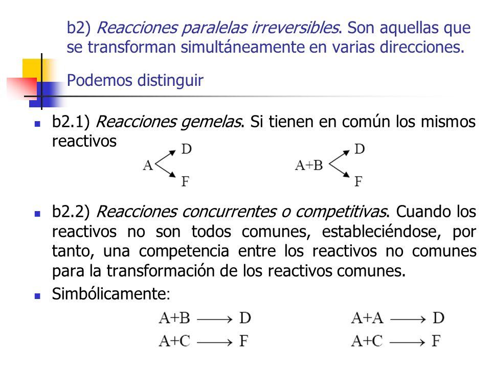 b2) Reacciones paralelas irreversibles