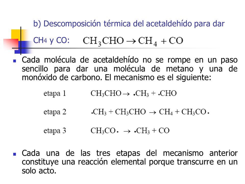 b) Descomposición térmica del acetaldehído para dar CH4 y CO:
