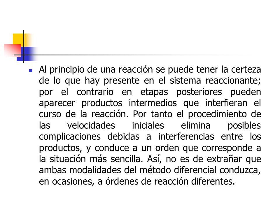 Al principio de una reacción se puede tener la certeza de lo que hay presente en el sistema reaccionante; por el contrario en etapas posteriores pueden aparecer productos intermedios que interfieran el curso de la reacción.
