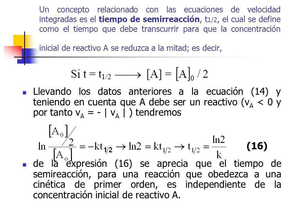 Un concepto relacionado con las ecuaciones de velocidad integradas es el tiempo de semirreacción, t1/2, el cual se define como el tiempo que debe transcurrir para que la concentración inicial de reactivo A se reduzca a la mitad; es decir,
