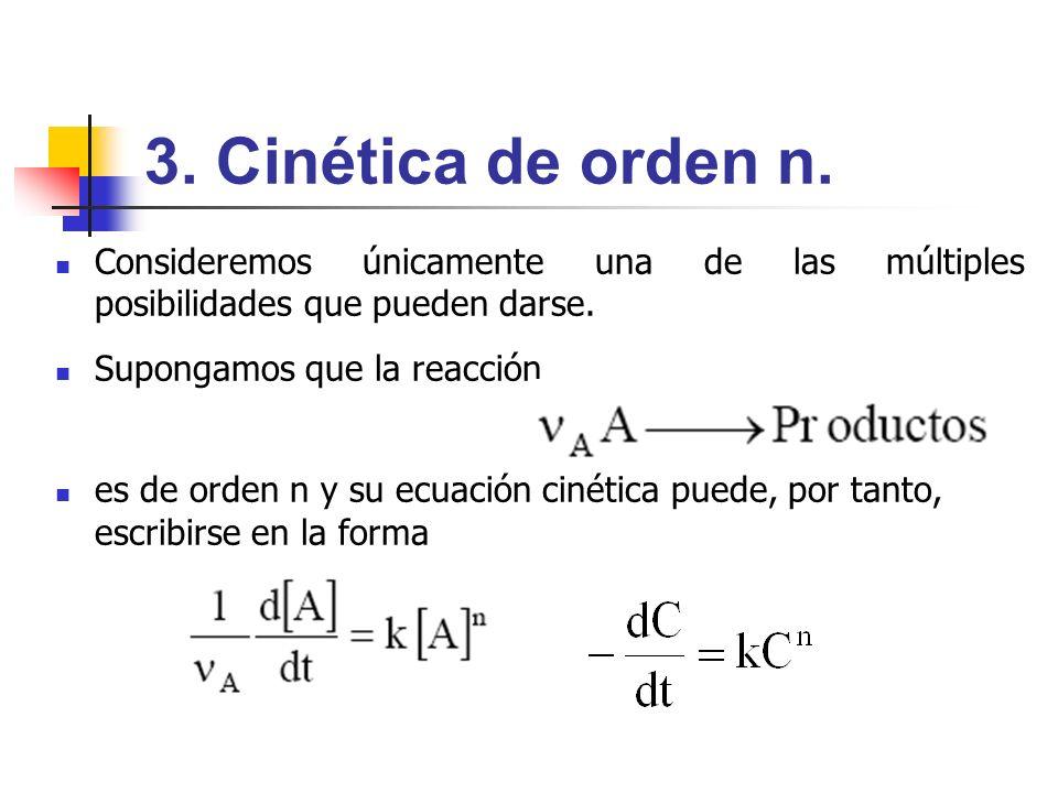 3. Cinética de orden n. Consideremos únicamente una de las múltiples posibilidades que pueden darse.