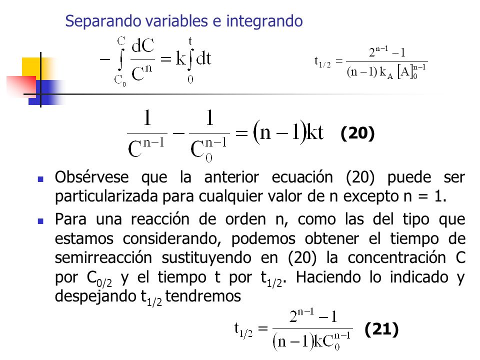 Separando variables e integrando
