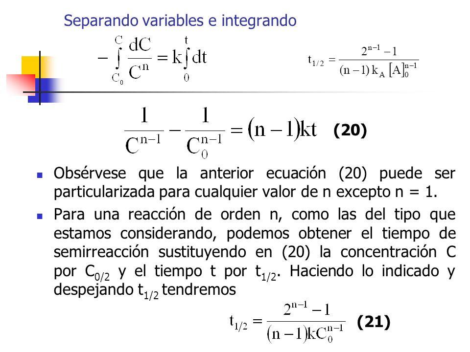 Separando variables e integrando
