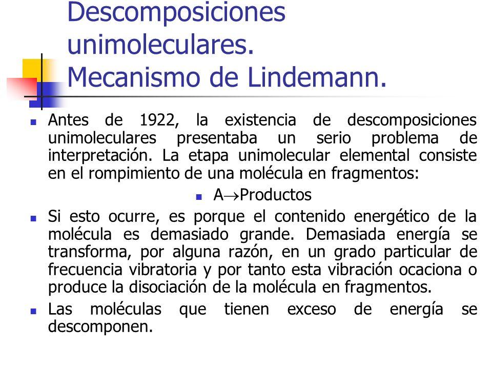 Descomposiciones unimoleculares. Mecanismo de Lindemann.