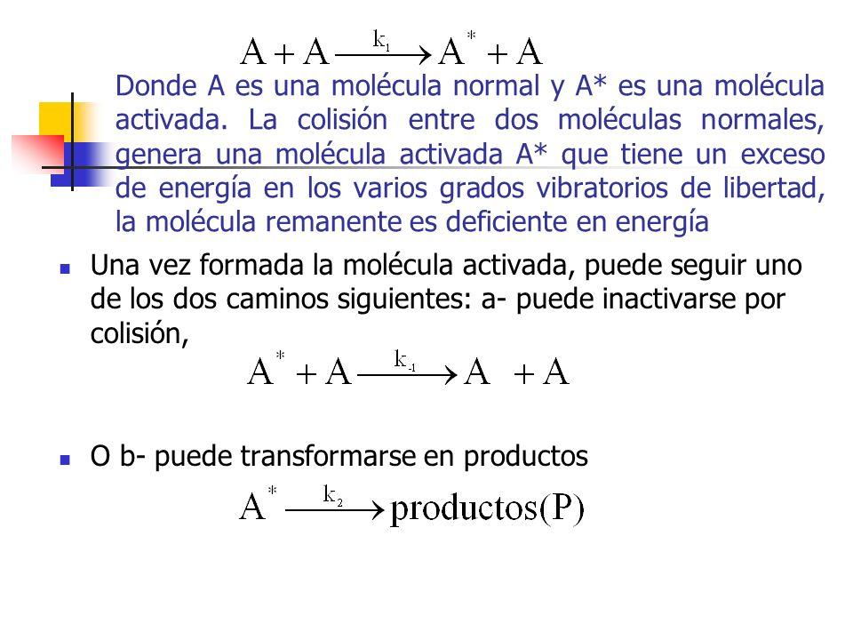 Donde A es una molécula normal y A. es una molécula activada