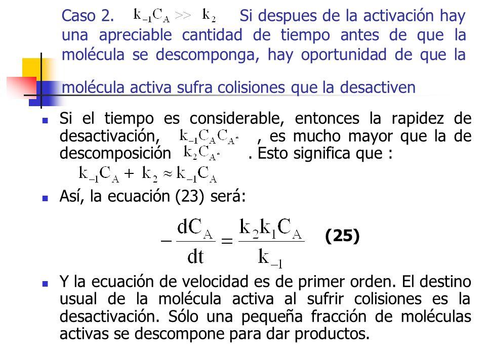 Caso 2. Si despues de la activación hay una apreciable cantidad de tiempo antes de que la molécula se descomponga, hay oportunidad de que la molécula activa sufra colisiones que la desactiven