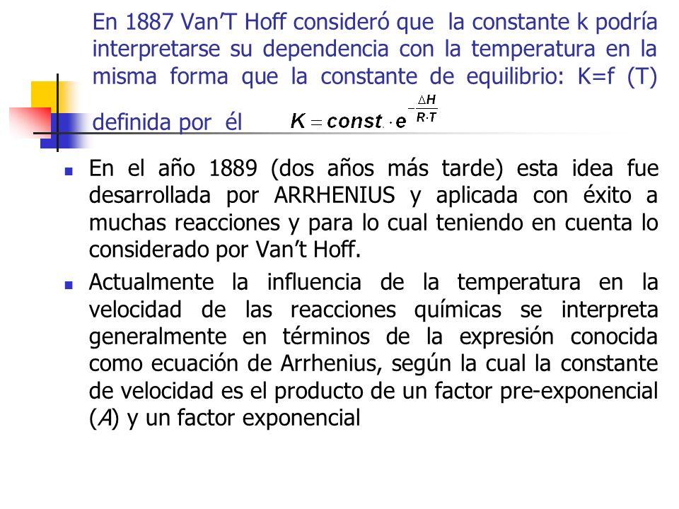 En 1887 Van'T Hoff consideró que la constante k podría interpretarse su dependencia con la temperatura en la misma forma que la constante de equilibrio: K=f (T) definida por él