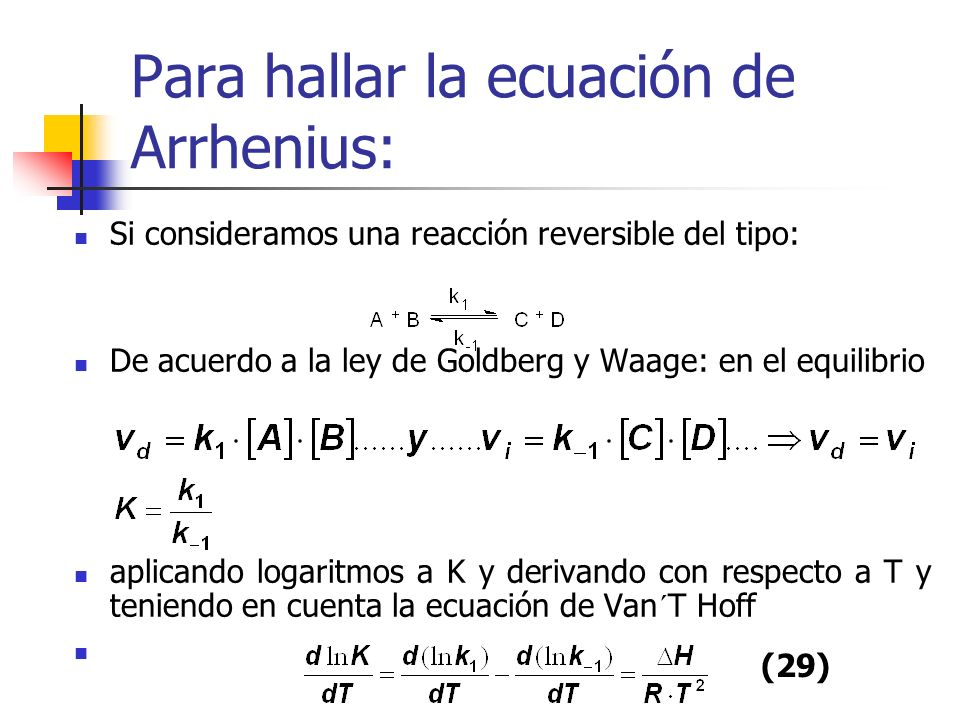 Para hallar la ecuación de Arrhenius: