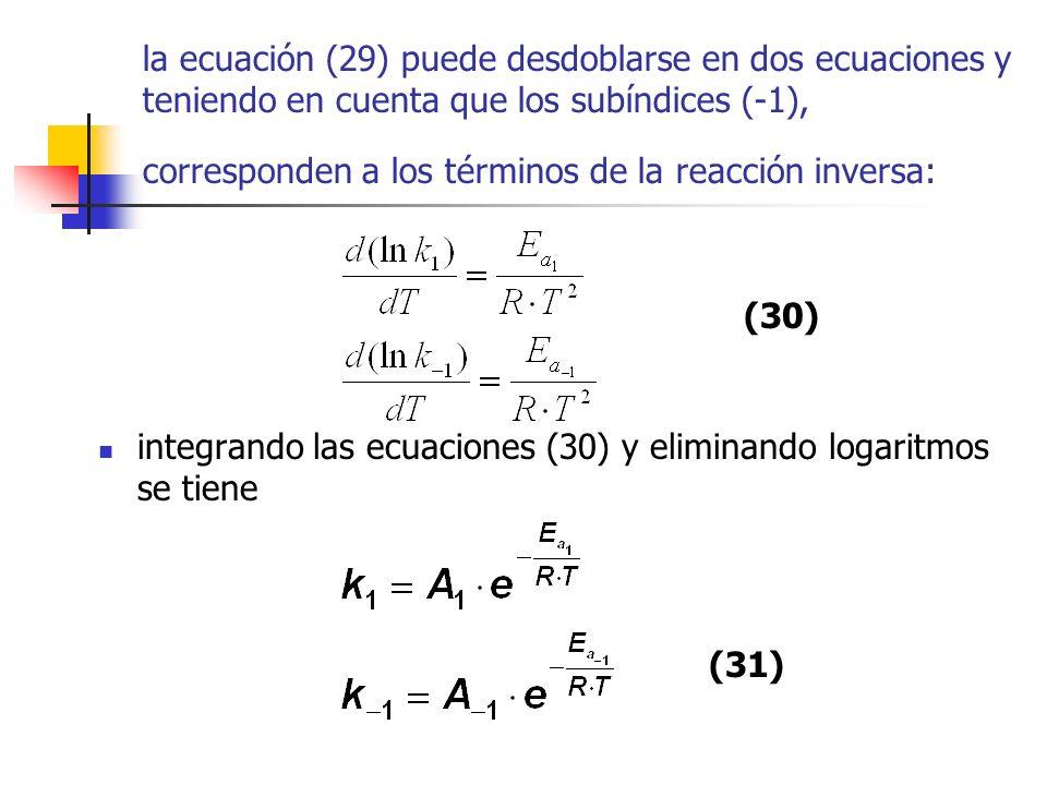 la ecuación (29) puede desdoblarse en dos ecuaciones y teniendo en cuenta que los subíndices (-1), corresponden a los términos de la reacción inversa: