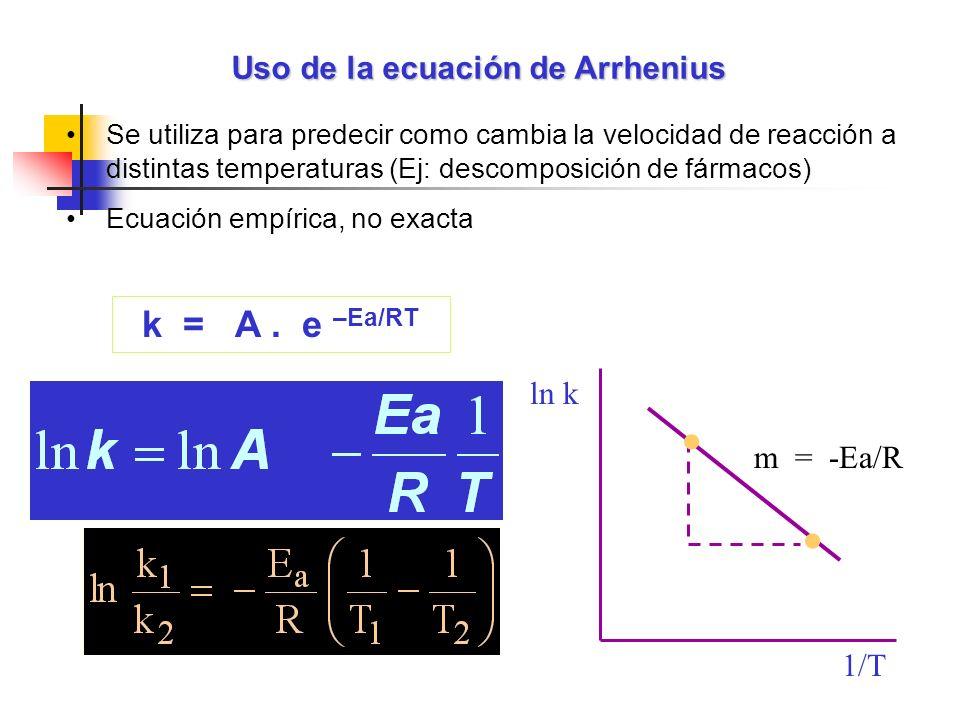 Uso de la ecuación de Arrhenius