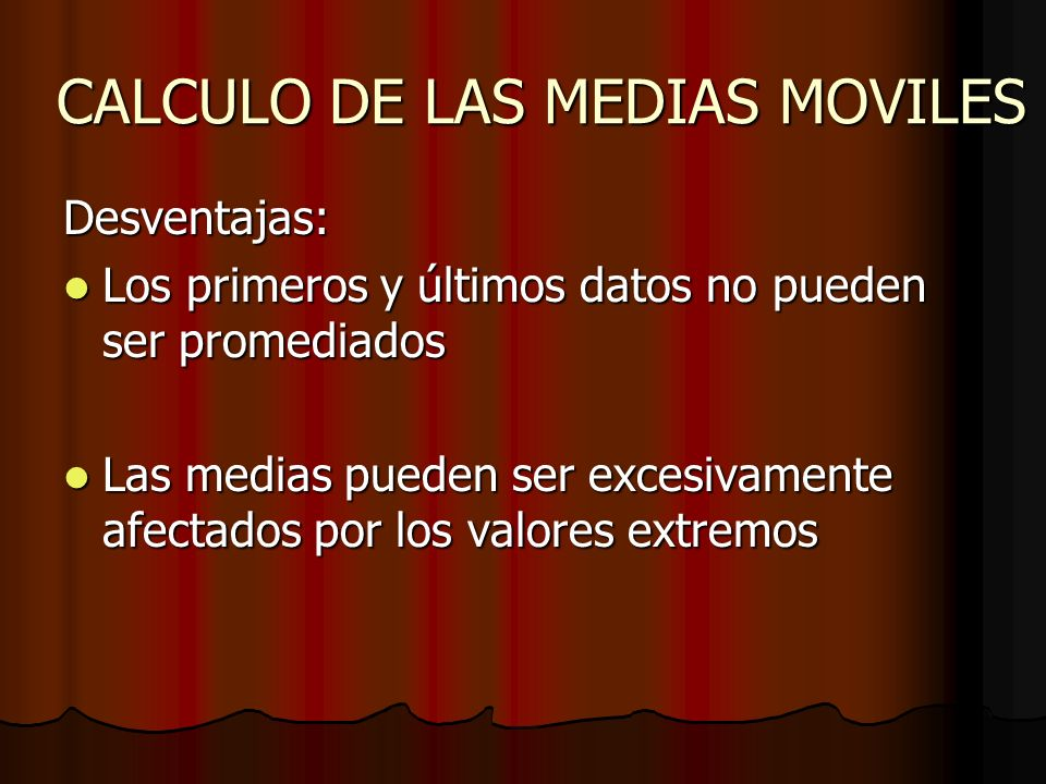 CALCULO DE LAS MEDIAS MOVILES