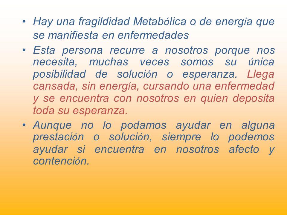 Hay una fragildidad Metabólica o de energía que se manifiesta en enfermedades