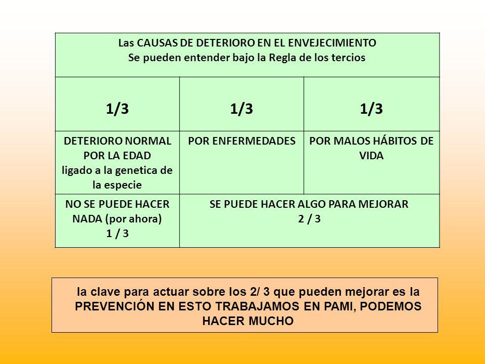1/3 Las CAUSAS DE DETERIORO EN EL ENVEJECIMIENTO
