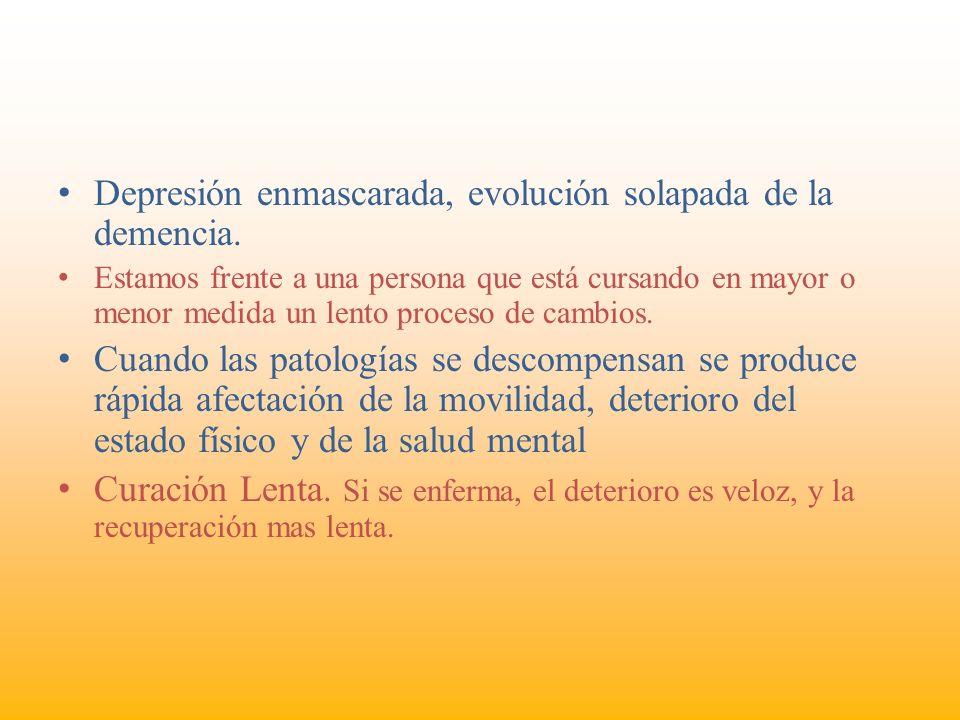Depresión enmascarada, evolución solapada de la demencia.