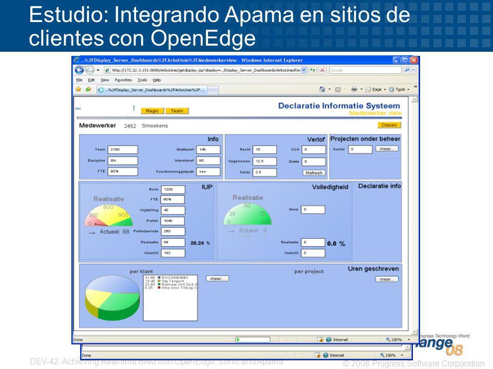 Estudio: Integrando Apama en sitios de clientes con OpenEdge