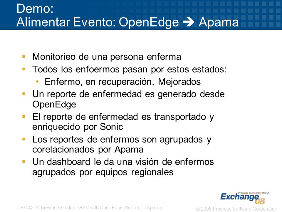 Demo: Alimentar Evento: OpenEdge  Apama