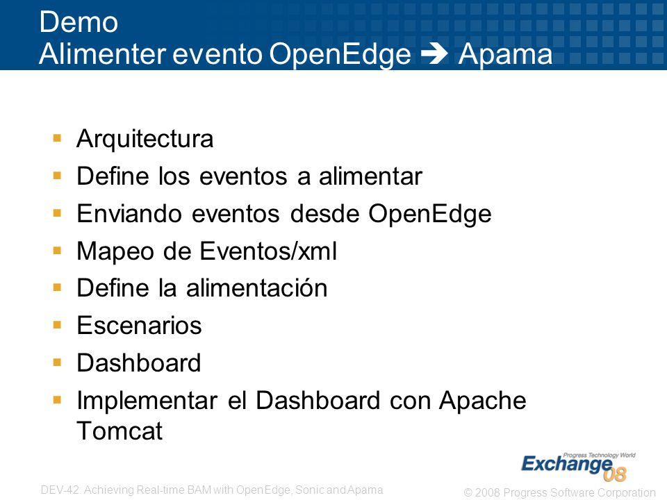 Demo Alimenter evento OpenEdge  Apama