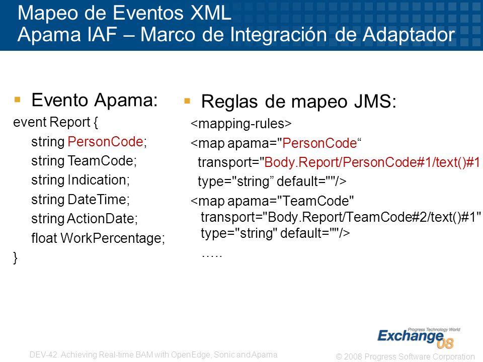 Mapeo de Eventos XML Apama IAF – Marco de Integración de Adaptador