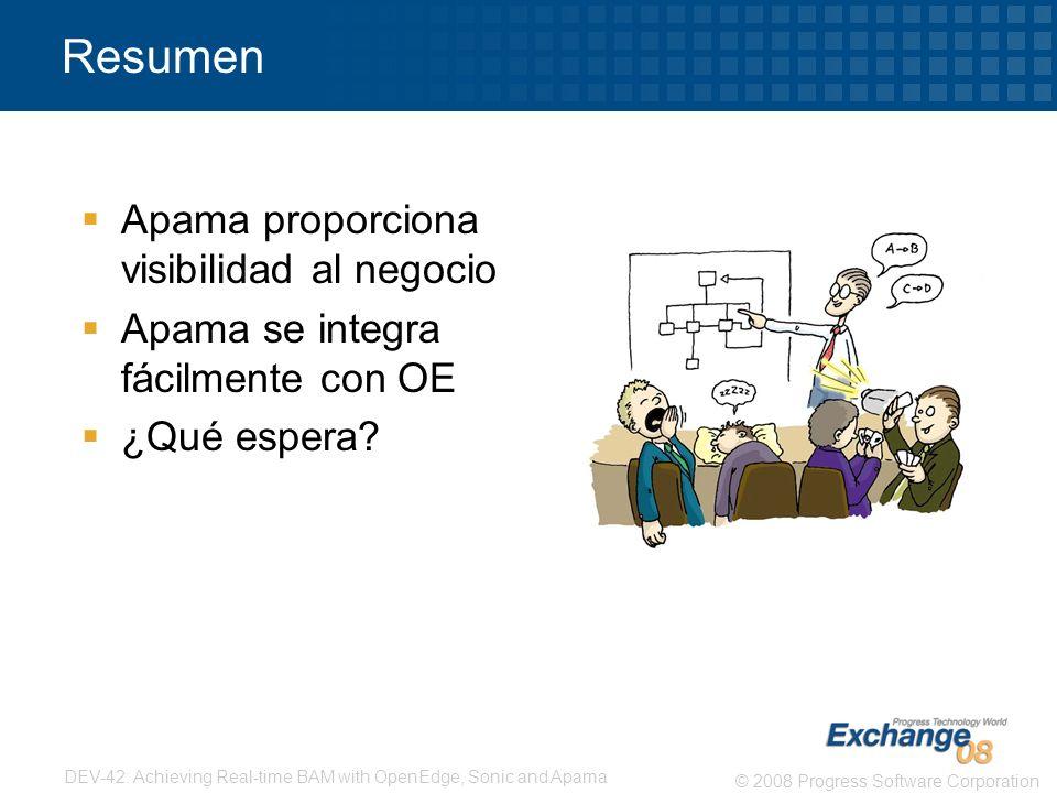 Resumen Apama proporciona visibilidad al negocio