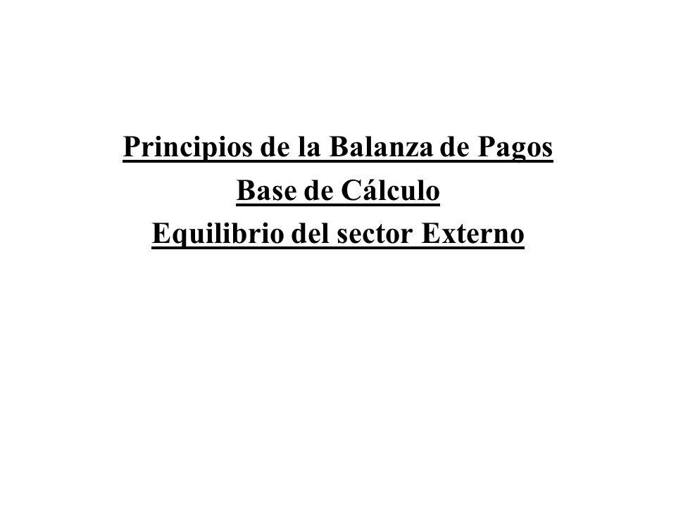 Principios de la Balanza de Pagos Equilibrio del sector Externo