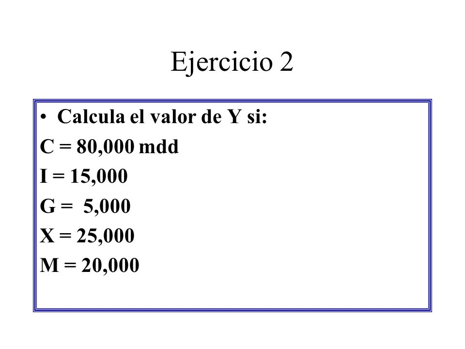 Ejercicio 2 Calcula el valor de Y si: C = 80,000 mdd I = 15,000